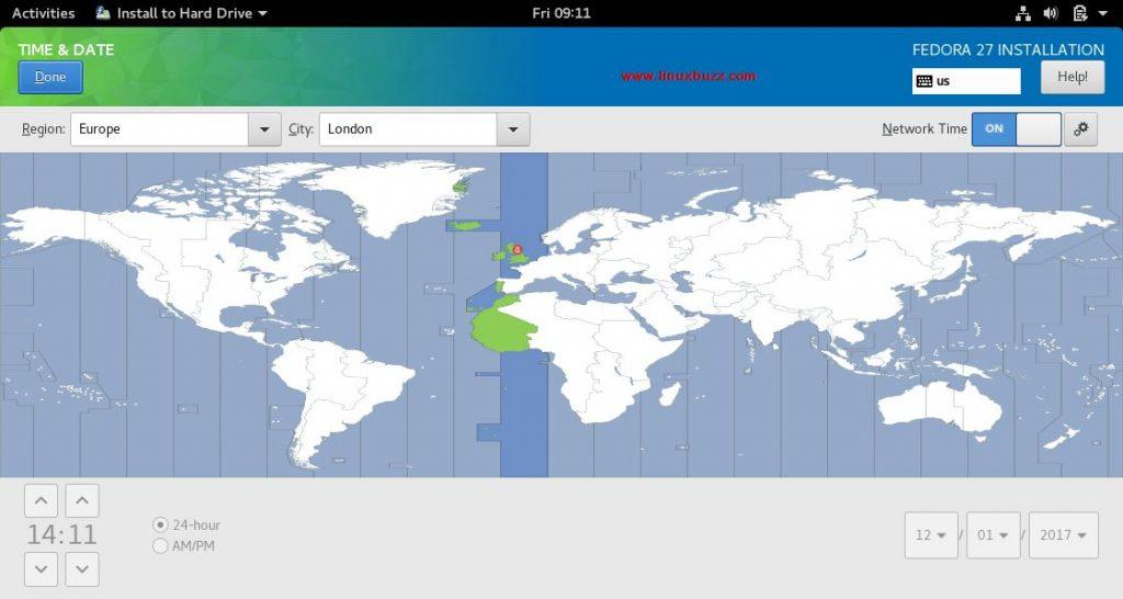 TimeZone-Fedora27-Installation