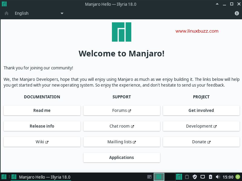 Manjaro-18-Welcome-Screen