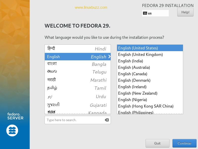 Choose-Language-Fedora-29-Server