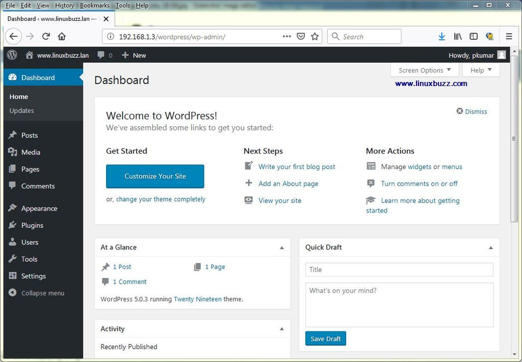 Dashboard-WordPress-Ubuntu18-04