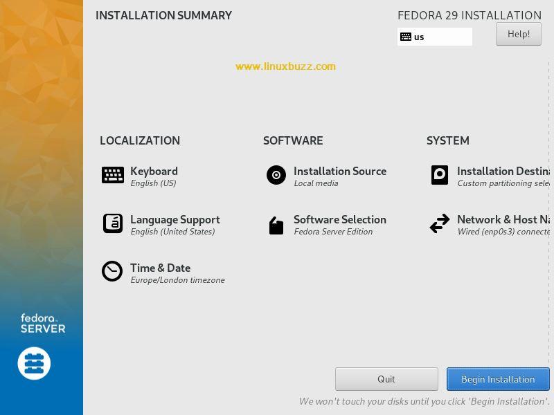 Fedora-29-begin-installation