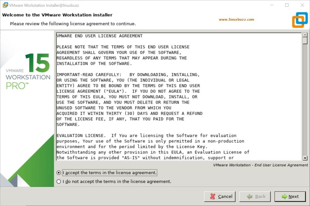 Accept-License-Agreement-VMware-WorkStation-15-Linux