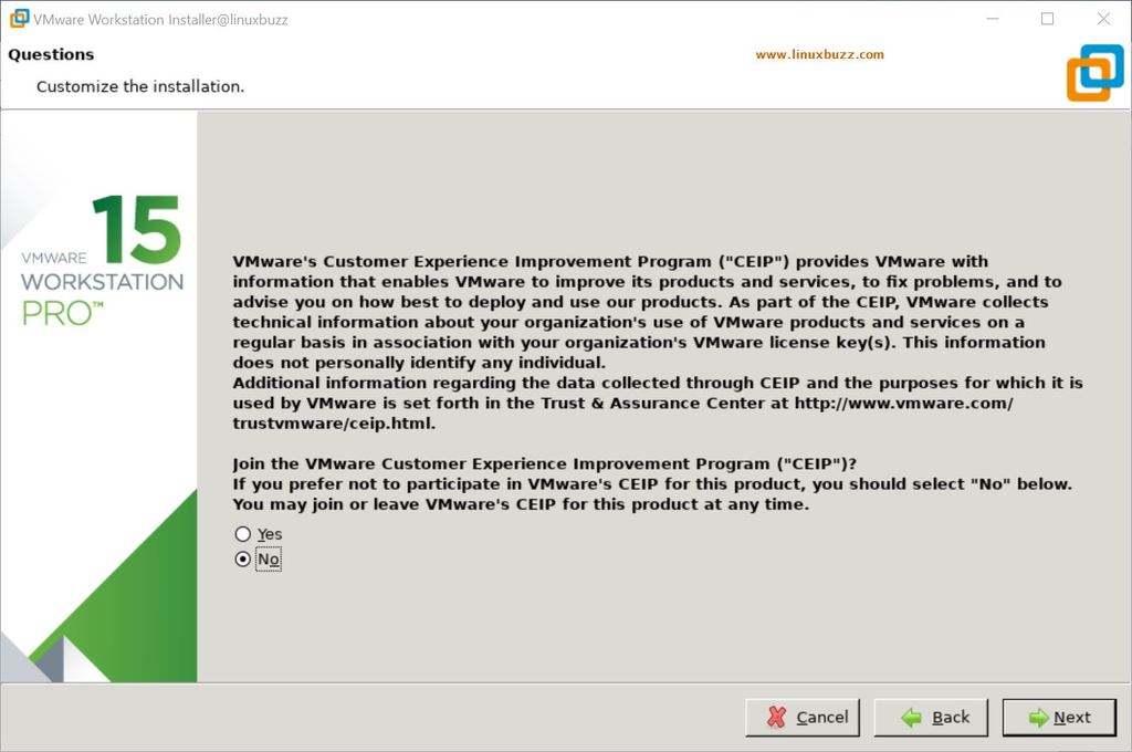 CEIP-Experience-VMware-WorkStation-Linux-Desktop