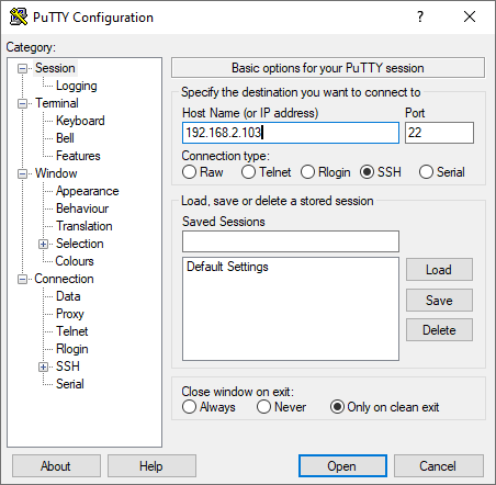 Access-Debian-System-with-putty