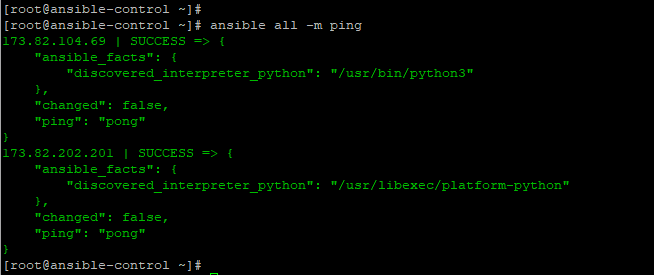 Ansible-Ping-Pong-Command-output