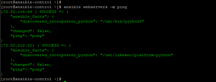 Ansible-ping-servers-group