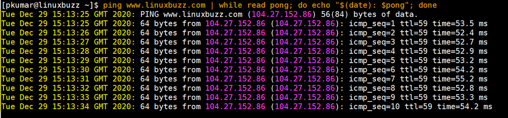 Timestamp-ping-command-linux