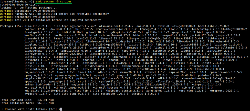 Install-scribus-arch-linux
