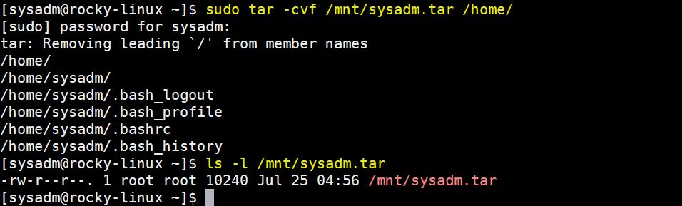 Archive-sysadm-user-home-directory
