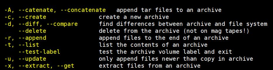 Basic-tar-Command-options
