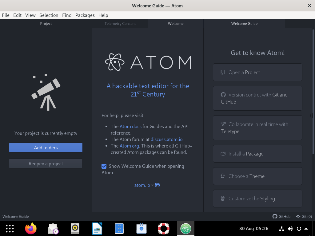 Atom-Text-Editor-Welcome-Screen
